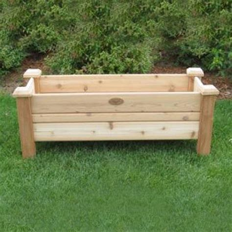 raised planter box shop gronomics 48 in x 19 in cedar cedar rustic raised planter box at lowes