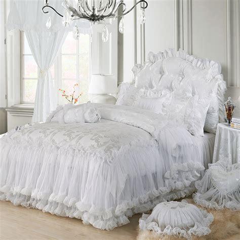Lace Bedding Sets 4pc 6pc 9pc Princess Bedding Set Bedspread Purple White Pink Lace Bed Set King Jpg