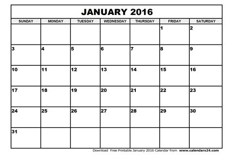 printable monthly calendar january 2016 january 2016 calendar february 2016 calendar