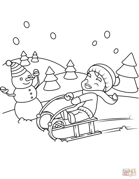 sledge hockey coloring pages little boy riding a sledge coloring page free printable