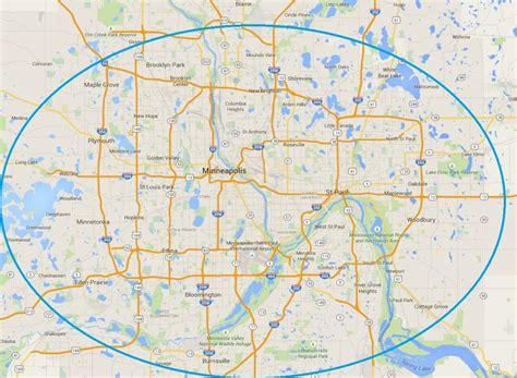 map of minneapolis area service area minneapolis st paul area