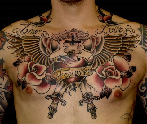 tattoo on upper chest old school true love forever upper chest tattoo great