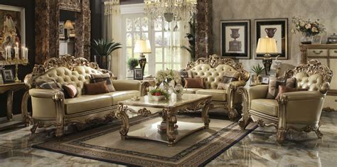 gold living room furniture gold patina vendome royal living set by acme furniture