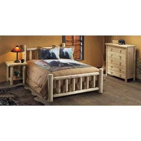 log bedroom set rustic natural cedar furniture company 174 king cedar log bed