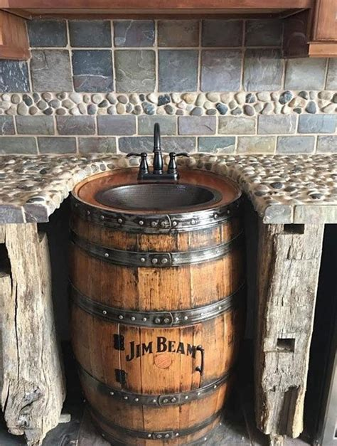 cave bathroom sink best 25 barrel sink ideas on whiskey barrel