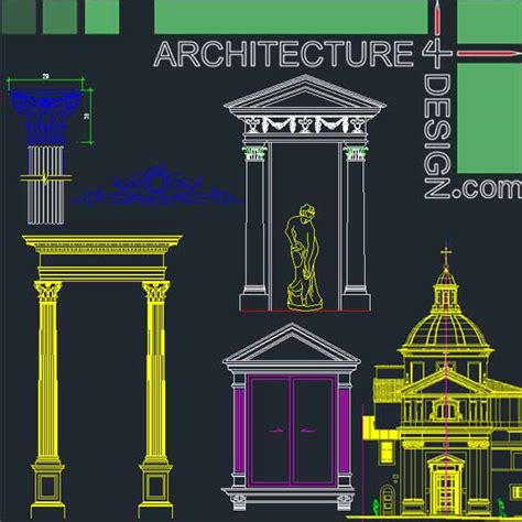 Tuscan Home Design Elements by Classical Architecture Style Facades Parts For Autocad