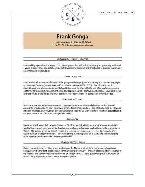 knowledge skills and ability exles resume format