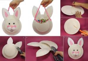 Easter Basket Craft by Diy Easter Bunny Basket From Paper Plate