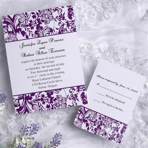 white and wedding invitations classic damask purple and white wedding invitations ewi031 as low as 0 94