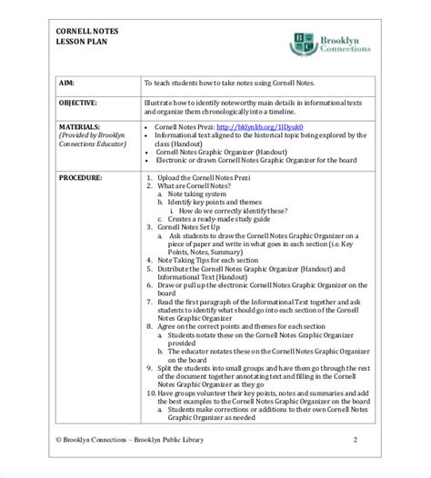 best note taking template cornell note taking template 8 free word excel pdf