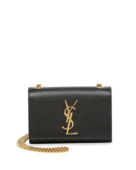 lyst saint laurent monogram leather crossbody bag  black