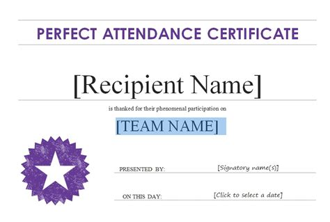 free perfect attendance certificate award template with