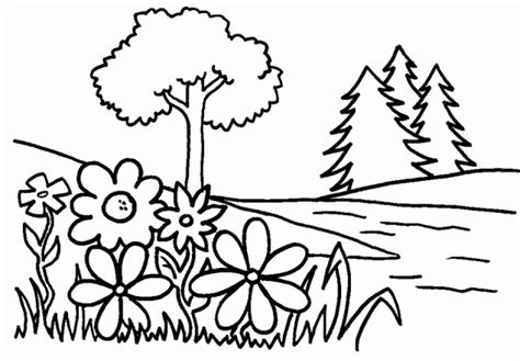 trees and flowers free printable coloring pages