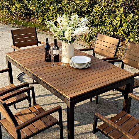 wood patio dining set belham living carmona faux wood extension patio dining set