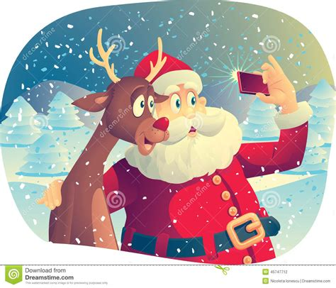 how to take a picture of a christmas tree santa claus and rudolph taking a photo together stock vector image 45747712