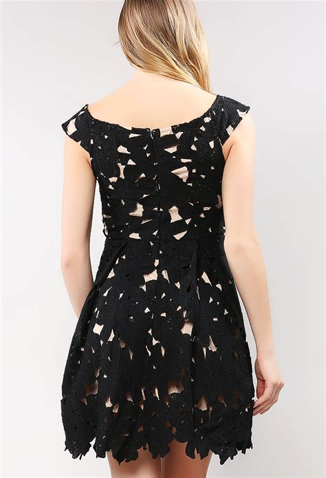 Mergory Flowery Flare Mini Dress flower lace flare mini dress shop out dresses at
