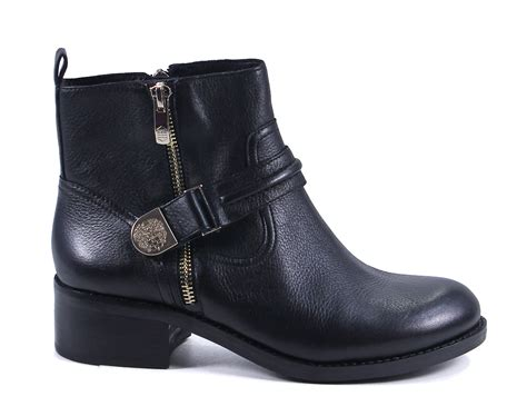 vince camuto black leather warby ankle boots shoes 9 new