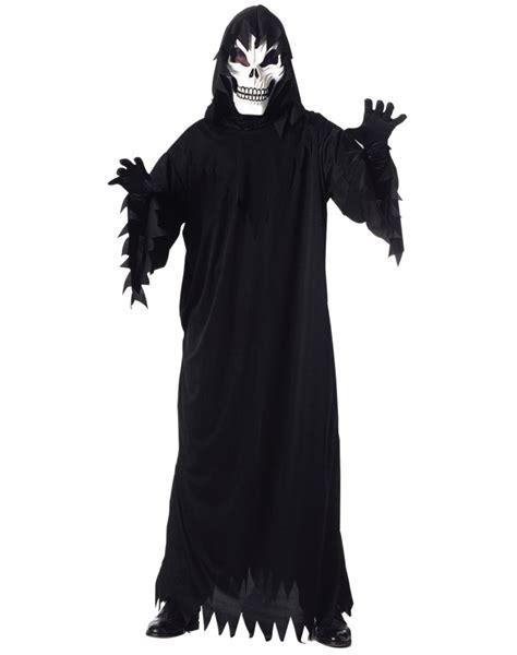 scary skeleton black hooded robe costume