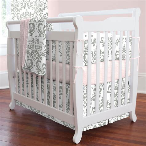 Gray Traditions Damask Mini Crib Skirt Box Pleat Mini Crib Bed Skirt