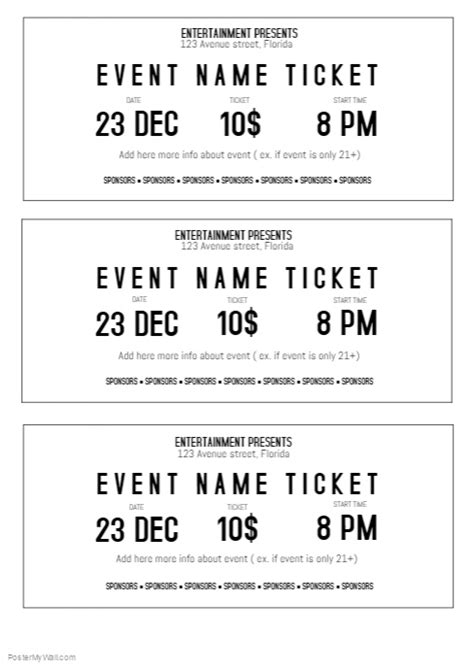 ticket size template black and white event ticket template printable size a4