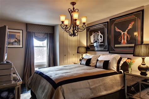 black gold residence eclectic bedroom new york