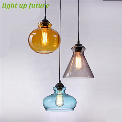 Handmade Glass Pendant Lights - vintage handmade creative 3 colors glass pendant light for