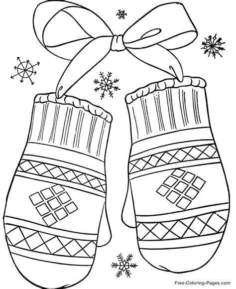 printable coloring pages winter winter coloring pages winter mittens 12