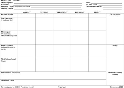 printable lesson plan templates for free