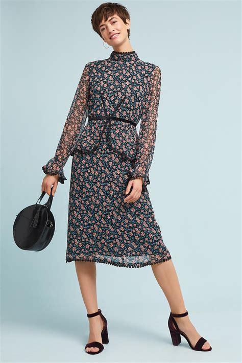 O Neck Import Black Motif lyst sui high neck silk dress in black