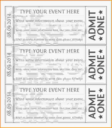 sle ticket template for events event tickets template free event ticket template