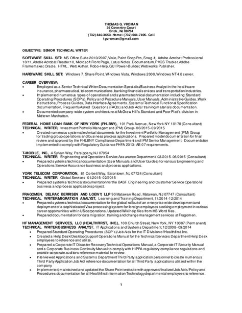 Technical Writer Resume by Vroman Senior Technical Writer Updated Resume 10272015
