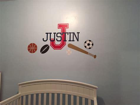 Sports Wall Decals For Nursery Monogram Sport Theme Baseball Soccer Basketball Football Vinyl Wall Decal