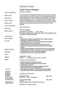 agile project manager resume software exle sle