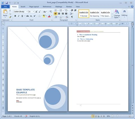15 cover page template microsoft word images report
