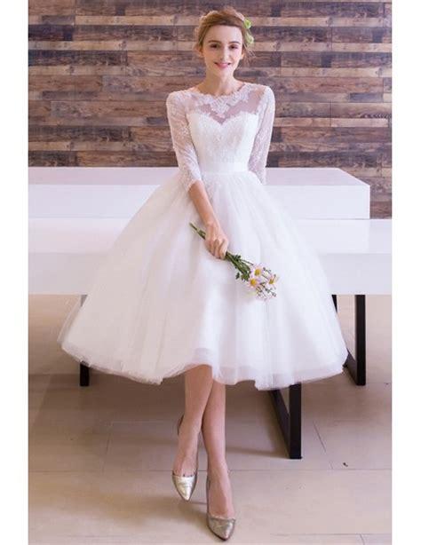 Vintage Tea Length Wedding Dress A Line Scoop Neck Tulle with Appliques Lace #TR002 $143
