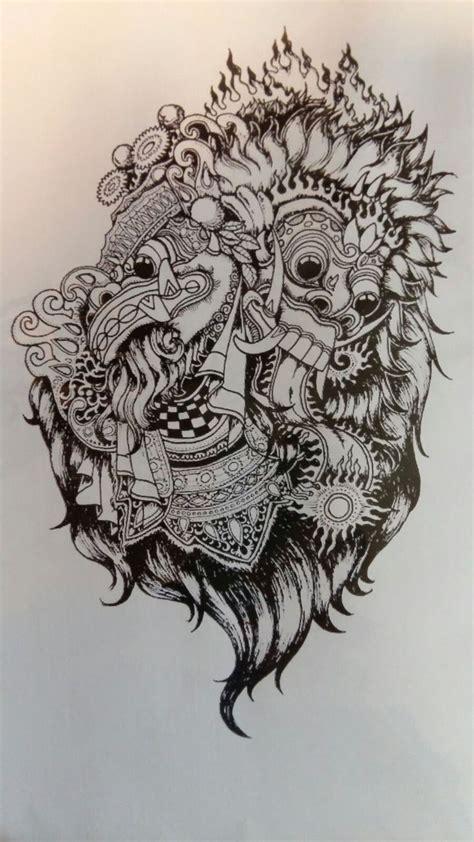Sket Tattoo Barong Bali | balinesse tattoo sketch barong rangda blackandgrey