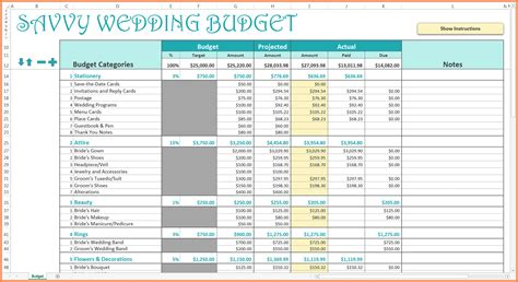 Wedding Budget 3000 by 11 Wedding Budget Spreadsheets Excel Spreadsheets