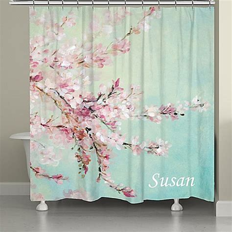 Shower Curtains Pink Buy Laural Home 174 Cherrry Blossoms Shower Curtain In Pink Blue From Bed Bath Beyond