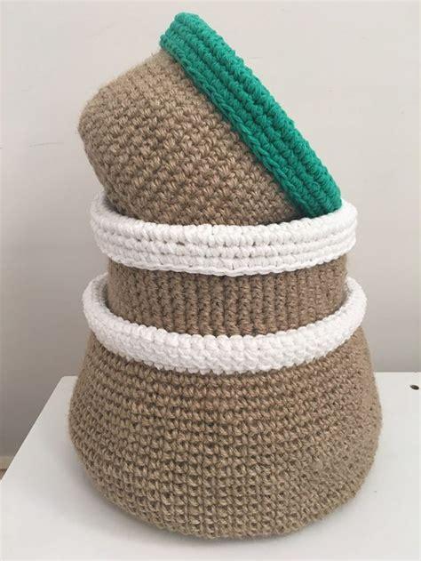 crochet jute bag pattern jute baskets free pattern home decor pinterest jute