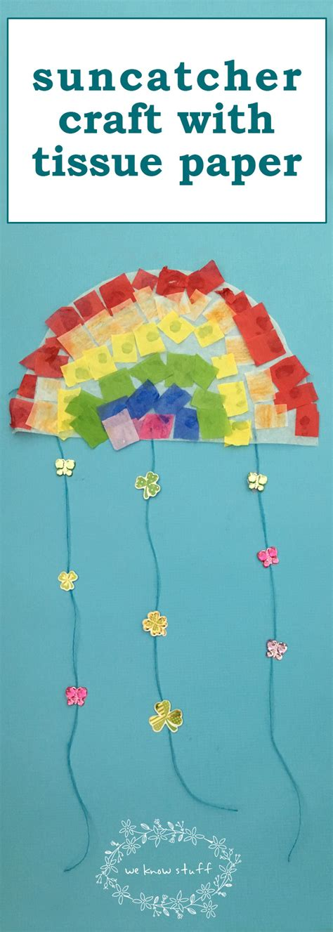 Tissue Paper Suncatcher Craft - suncatcher craft with tissue paper stained glass rainbows
