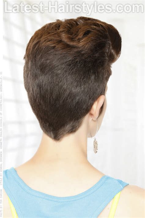 view from back of pompadour hair style short pompadour hairstyle with volume back view