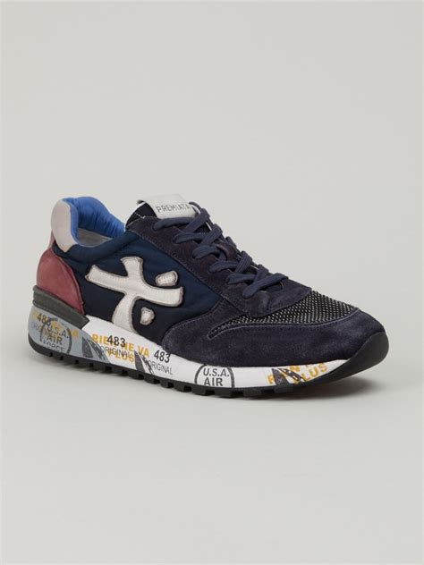 premiata mick sneakers in blue for lyst