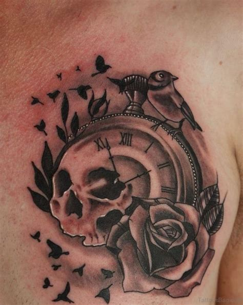 clock with roses tattoo 64 mind blowing clock tattoos for chest