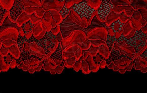 Home Decoration With Paper by Red Lace Insulated On Black Background Stock Photo