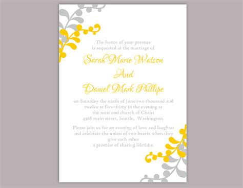 Wedding Invitations Yellow And Grey by Yellow And Gray Wedding Invitations Diy Wedding