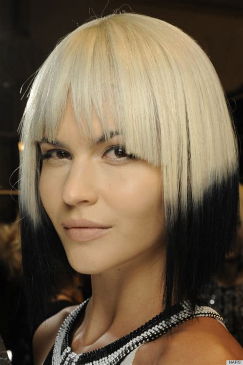 bob with dipped ends hair carmen marc valvo spring 2014 show makes bold statement
