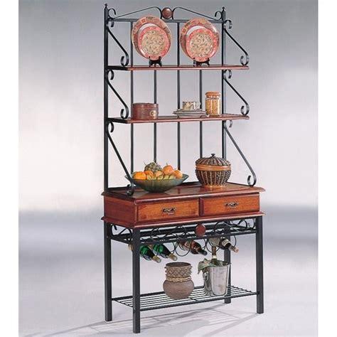 coaster oak w 2 drawers bakers rack ebay