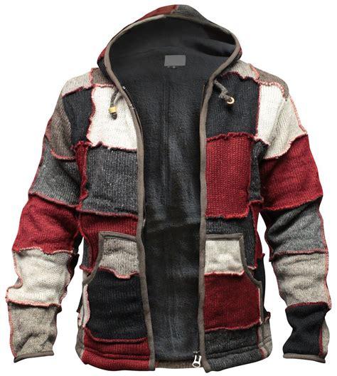 Sweater Hippie Mens Hippy Patch Winter Jacket Multicoloured Wool Fleece
