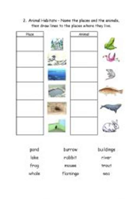 printable animal habitat matching game english worksheet animal habitats 2