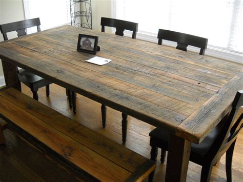Wooden Kitchen Table With Bench by Diy Rustic Farmhouse Kitchen Table Made From Reclaimed